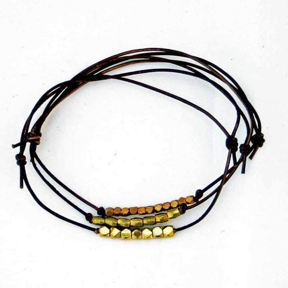 Leather Friendship Bracelets Chocolate Brown Leather Beaded Bracelets Set Of Three