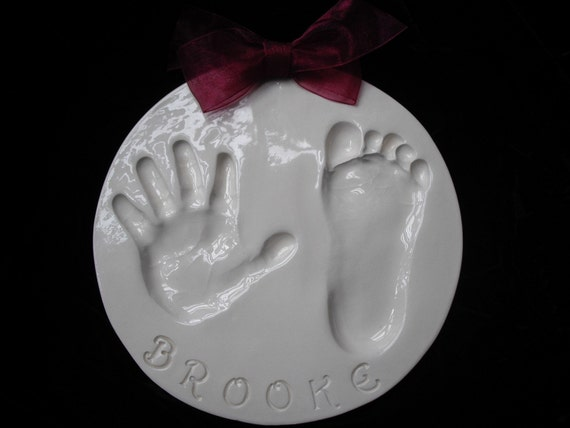 Large hand and footprint ceramic plaque with  mold kit and shipping