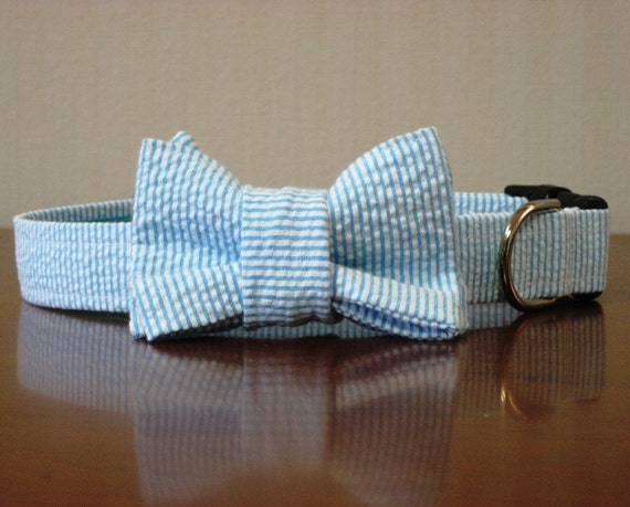 Seersucker Dog Bow Tie Collar (Bowtie) - Your choice of color