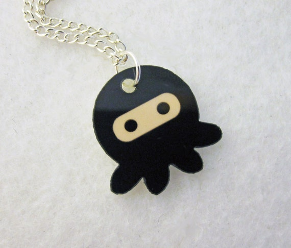 Black Ninjapus Ninja Octopus Necklace
