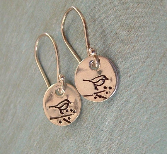 BIRDS ON A BRANCH.... Hand Stamped Earrings - Sterling Silver Dangle Earrings - Personalized Jewelry