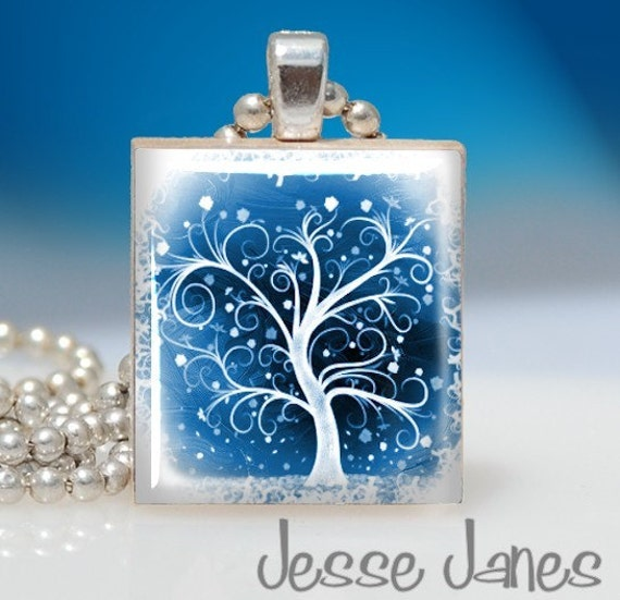 WINTER SNOW tree - Scrabble Tile Pendant - Fun Affordable Gift