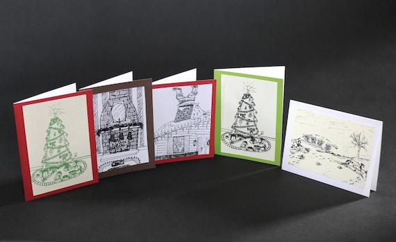 Winter Holiday Season Card Set of 5