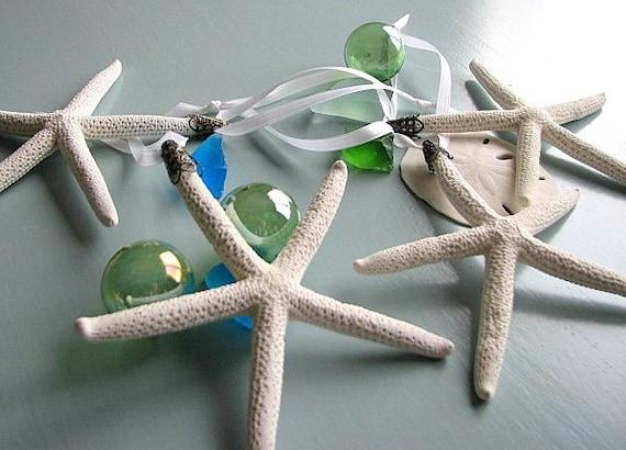 Пляж Декор Starfish елочных игрушек - набор из 4, белый, 4-6 дюймов