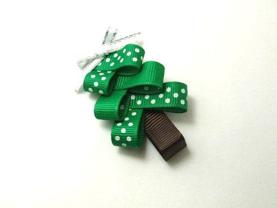 On SALE 99 CENTS Polka Dotted Christmas Tree Sculpture Ribbon Hair Clip