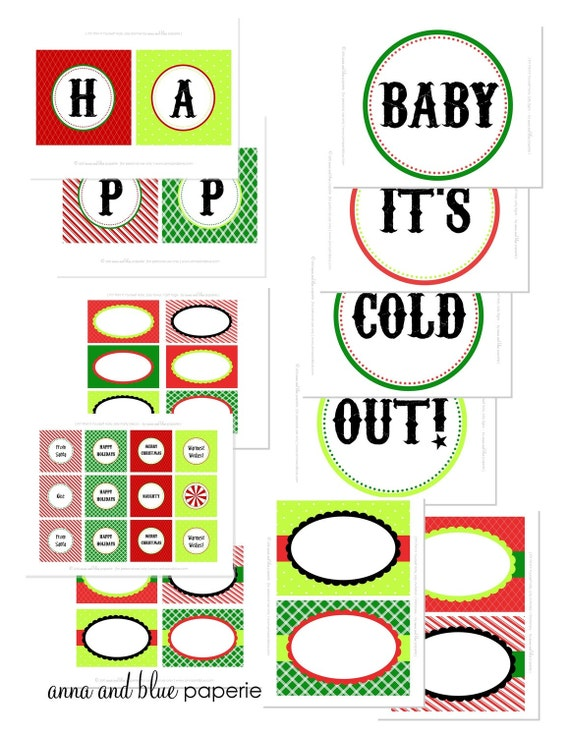 HOLLY JOLLY Printable Party Collection - anna and blue paperie