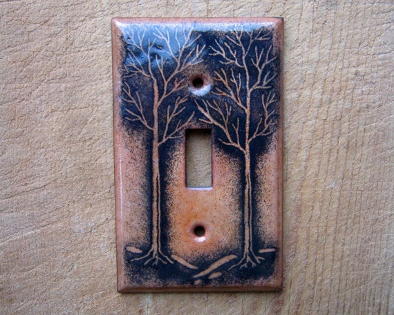 Copper enamel switch plate- trees