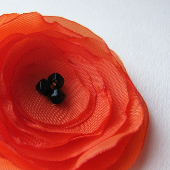 Poppy Pin Brooch Fabric - Orange