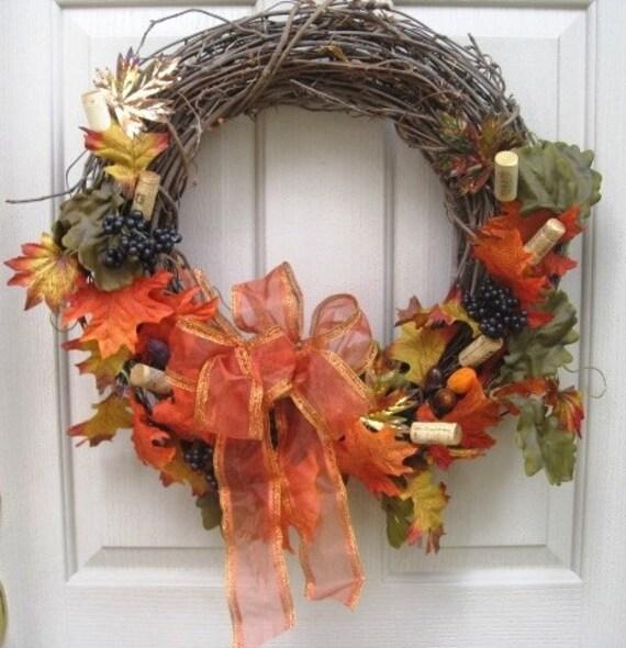 Падение Венок, осень Венок, Дверные Пробки Венок Вина и Виноградные листья