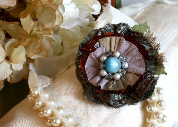 Fabric Flower Brooch in Lavender, Teal Blue and Ruby Red
