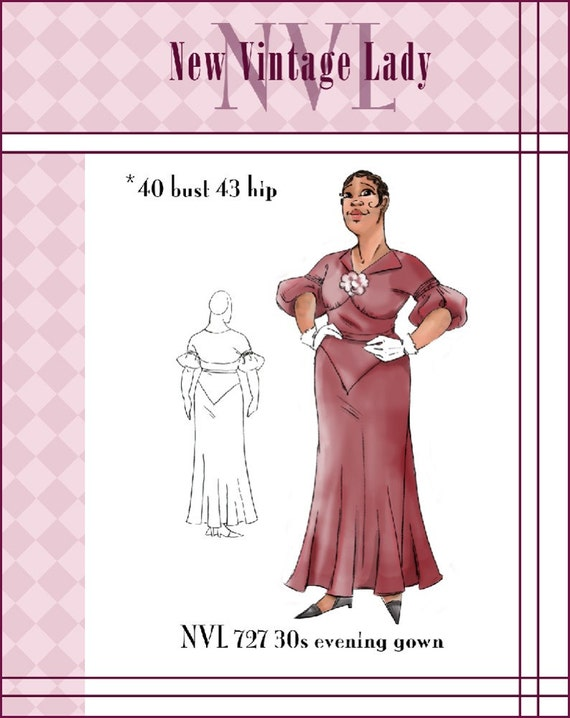 NVL 1930s The Diva Dress 40 bust PLUS SIZE