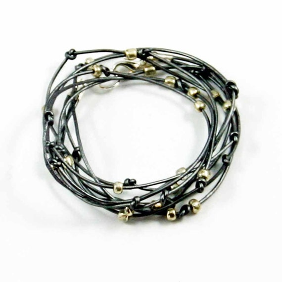 Cameron-Silver Leather Wrap Bracelet
