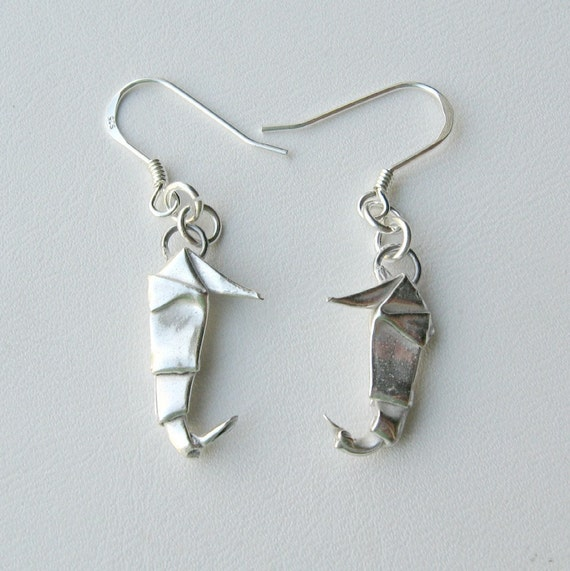 Silver Origami Seahorse Earrings