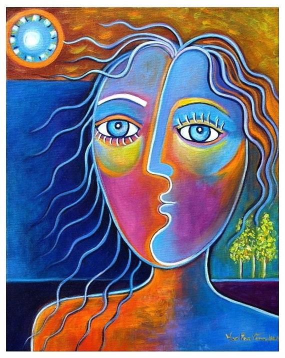 Long Hair Girl Modern Contemporary Original Painting Marlina Vera