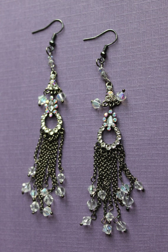 Rhinestone and Crystal Drop Earrings