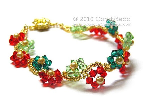 Poinsettia Swarovski Crystal Bracelet with Gold Flower Magnetic Clasp by CandyBead