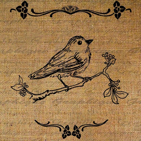 Happy Little Bird Birdie with Border Digital Image Download Transfer To Pillows Tote Tea Towels Burlap No. 1507