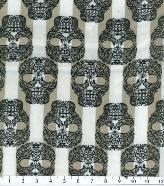 SKULLS Elegant Tattoo Pirate Skeleton Black Grey Punk Goth FLANNEL Fabric