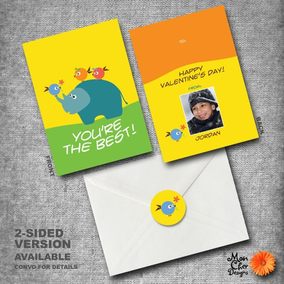 Personalized Kids Valentines Day Cards - Set of 40 with seals - RHINO