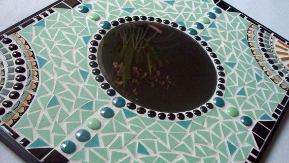 Mint Green and Black Mosaic Mirror