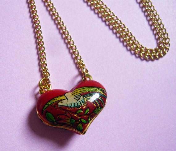 Vintage Puffy Red Enamel Heart Pendant by MaruMaru on Etsy from etsy.com