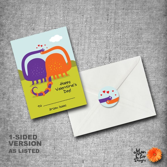 Personalized Kids Valentines Day Cards - Set of 40 with seals - BRONTOSAURUS