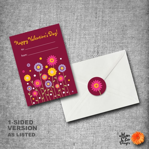 Personalized Kids Valentines Day Cards - Set of 40 with seals - DAISIES