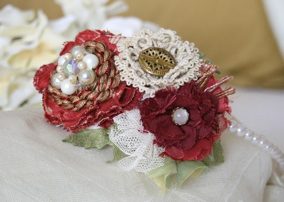 Cranberry Ruby Red and Ivory Flower Fascinator Headband