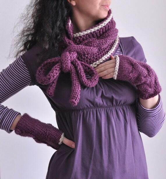 Окружите себя - handknit superchunky телеграфировал шарф и перчатки без пальцев набор с контрастной отделкой Индивидуальные заказы в 16 цветов