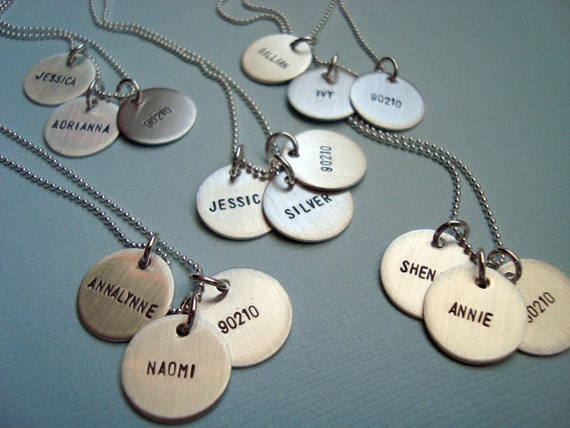 ONE Half-Inch Sterling Silver Hand Stamped Disc Necklace - Personalized