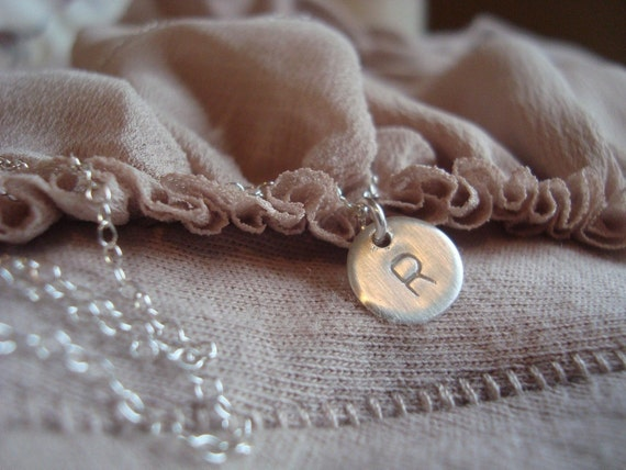 Stamped Initial Sterling Silver Necklace