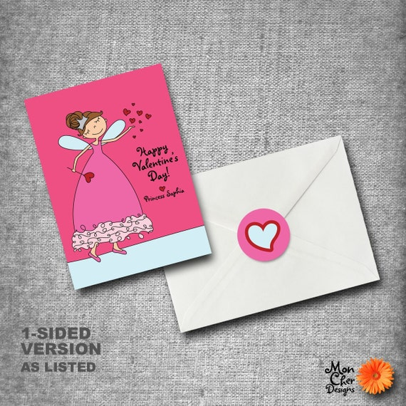 Personalized Kids Valentines Day Cards - Set of 40 with seals - PRINCESS FAIRY