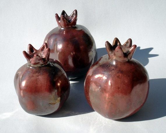 Raku Fired Ceramic Pomegranate - Copper Red - Medium