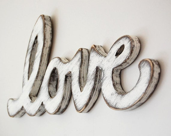 Cottage decor sign rustic white - shabby chic word - wooden wall sign - classic white