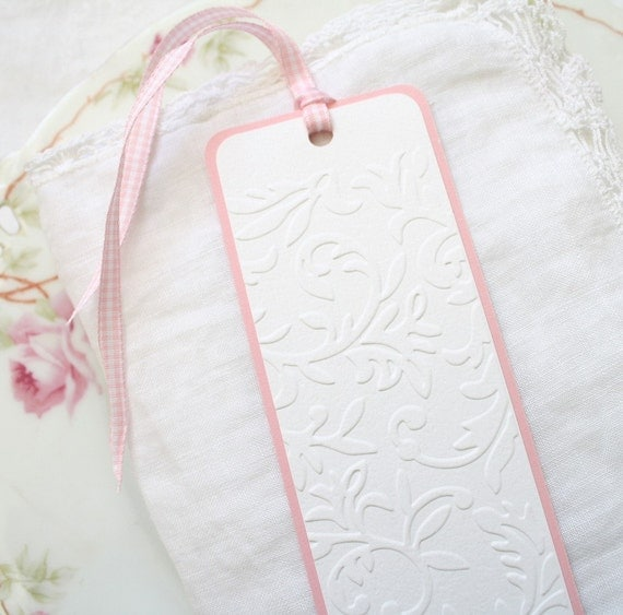 Handmade Bookmark - Embossed Vine,  Pink Gingham Ribbon