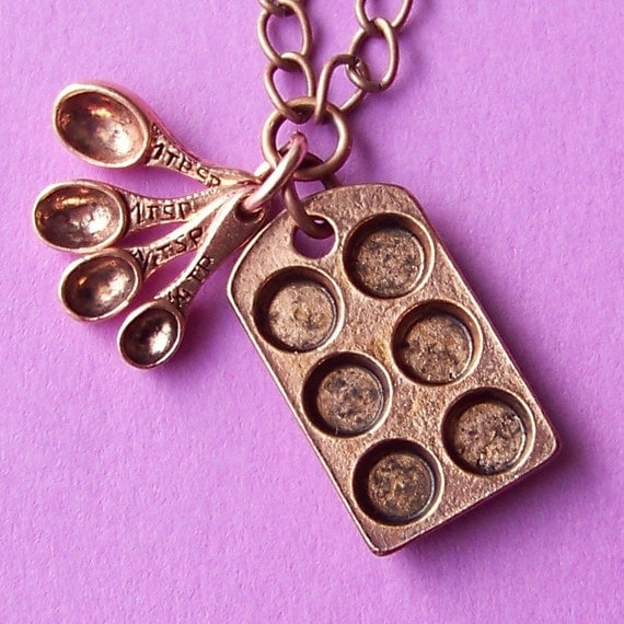 Antiqued Copper Bakers Charm Necklace with Miniature Cupcake Baking Pan and Tiny Measuring Spoons