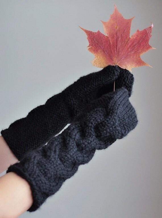 Freezebaby Рукавицы - классический кабель superchunky удлиненные полные стороны перчатки / рукавицы в черном - Индивидуальные заказы в 16 цветов