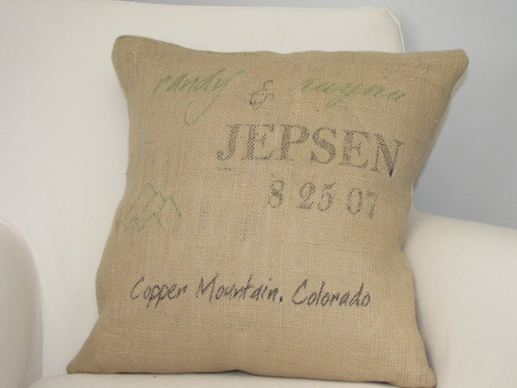 Custom Burlap Wedding Date pillow - Remember the Special Day