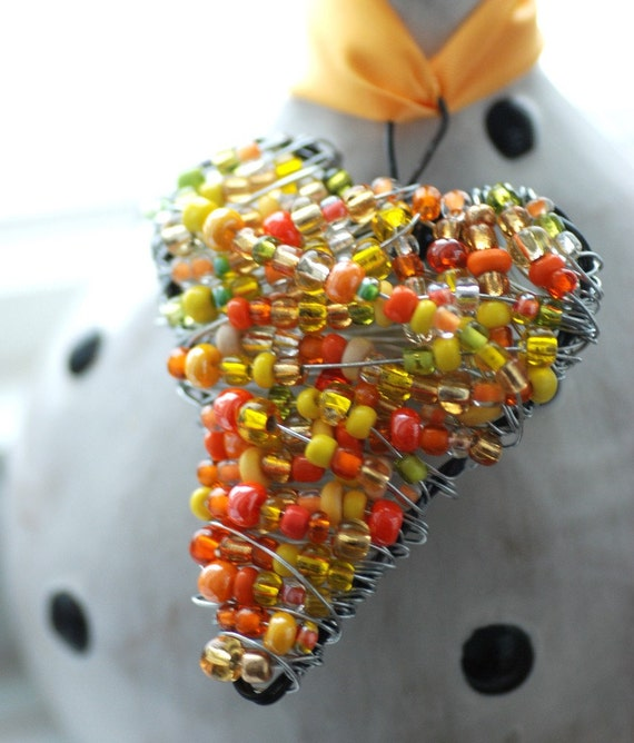 Wire Heart Ornament, Yellow, Orange and Lime Green Wrapped Heart Beaded Ornament, Lightcatcher or Decoration - Juicy