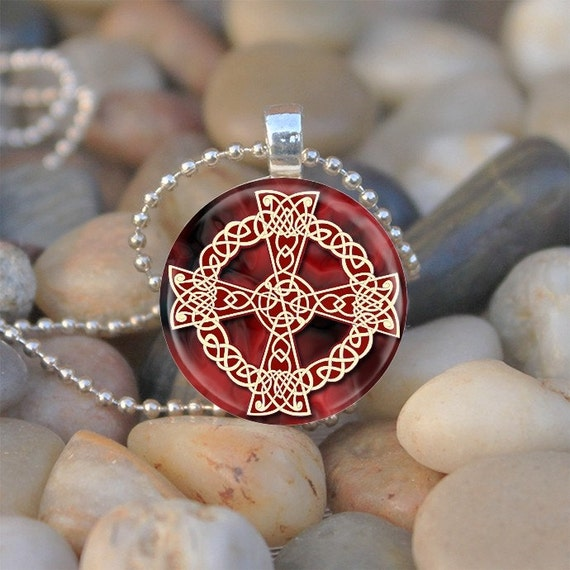 Red and Gold Celtic Cross (CCH1) - glass tile pendant
