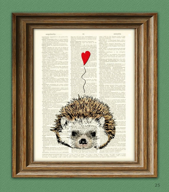 I Love You Valentine HEDGEHOG with heart print over an upcycled vintage dictionary page book art Buy 3 get 1 Free