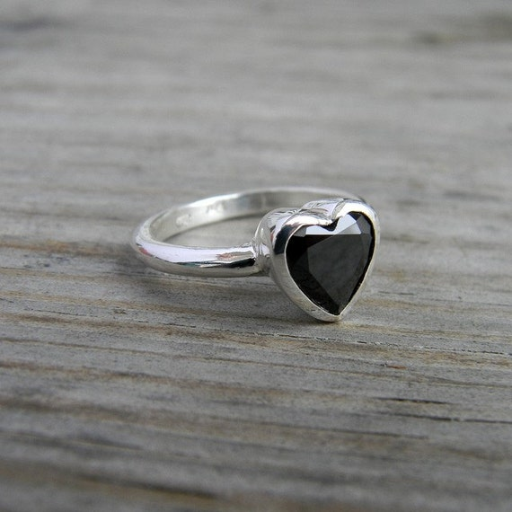Black Spinel Ring & Sterling Silver Gemstone Ring, Heart on Your Sleeve Made To Order