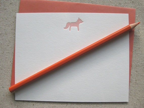 SALE - Fox note cards - set of 3 letterpress flat cards - gifts under 5 dollars