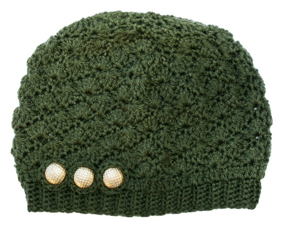 SALE Olive Green Crochet Hat with Gold by raghousenternational from etsy.com