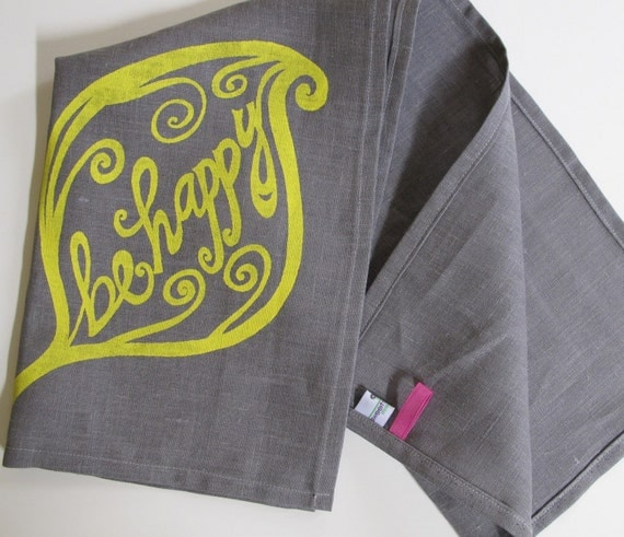 Linen Tea Towel - Steel Gray with Be Happy in Yellow