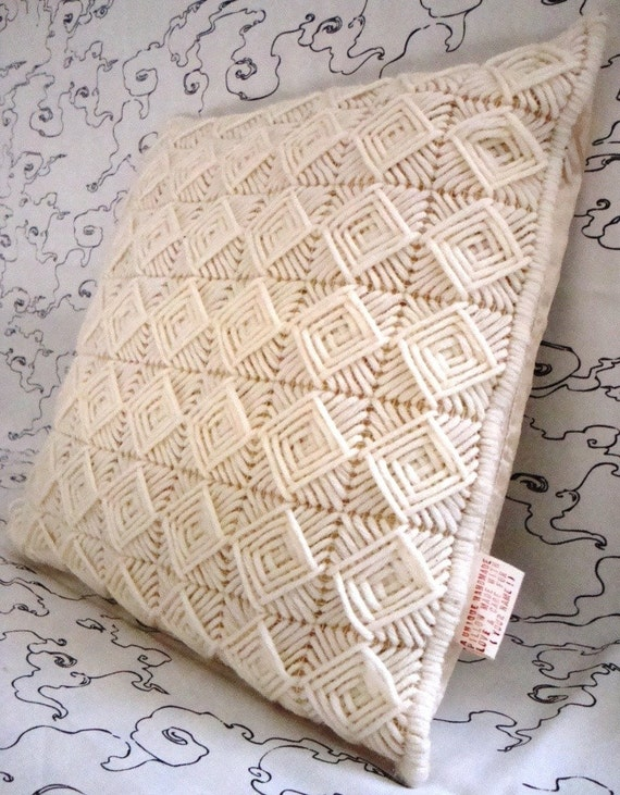 Needlepoint Handmade Pillow Cover with Creme / ecru Squares / Shop Early for Christmas
