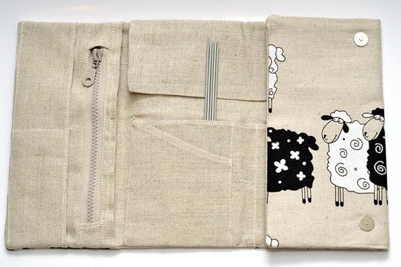 Needles, Crochets and Hooks Case. Knitting needles Organizer Holder - Lucky Sheep