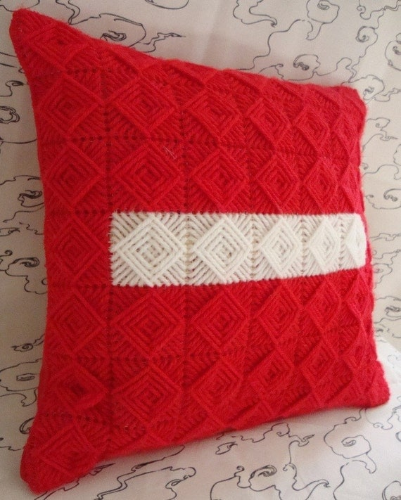 Needlepoint STOP Sign Handmade Pillow with White and Red Squares / Shop Early for Christmas