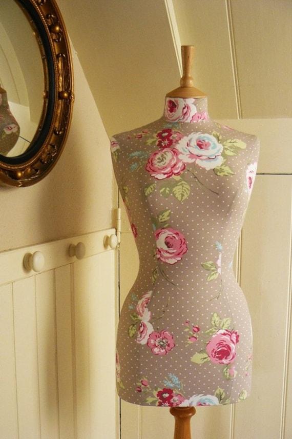 Polkadot Vintage Floral Print Mannequin Dressform Bust - Amelia
