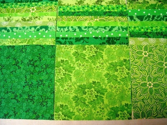 "Lime Green Fabric Squares - 5""  Quilt Charm Squares by SEW FUN QUILTS Time Saver Quilt Kit -"